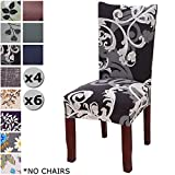 YISUN Modern Stretch Dining Chair Covers Removable Washable Spandex Slipcovers for High Chairs 4/6 PCs Chair Protective Covers (Black + Flower Parttern, 6 PCS)