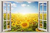 3D-Wandbild Geöffnetes Fenster - großformatig aus hochwertigem Vinyl - wiederverwendbar - Poster Blick aus dem Fenster - Wandtattoo Wohnzimmer - 3D Fototapete Sonnenblumenfeld 85 x 115 cm