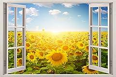 Idea Regalo - Decalcomania Gigante da Parete in 3D - Adesivo a Base di Colla Vinilica - Adesivi da Parete 3D Quadri con Finestre per Muro - Vinile di Arte Murale - 85 x 115 cm Poster Giganti Campi di girasoli