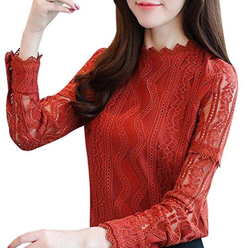 Hmeng Frauen Floral Lace Langarm Gestreiften Shirts OL Arbeitskleidung V-Ausschnitt Blusen Tops Plus Größe (Orange, M)