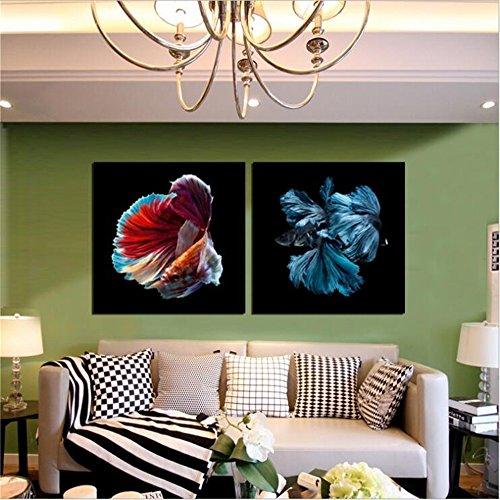 YCRD Moderne Kunst Leinwanddruck Ölgemälde Inkjet Goldfisch 2 Stücke Wohnzimmer Home Sofa Wanddekoration Hintergrund Wandbild Drucken bereit zu Hängen -