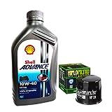 Kit Tagliando 3L Shell Advance Ultra 10W40Filtro Aceite Hiflofiltro hf138