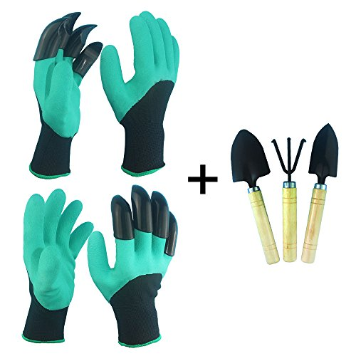 1 Pair Garden Digging Gloves With 4 Right Hand Fingertips Sharp+fork Claws Making Things Convenient For The People Garden Gloves Garden Tools