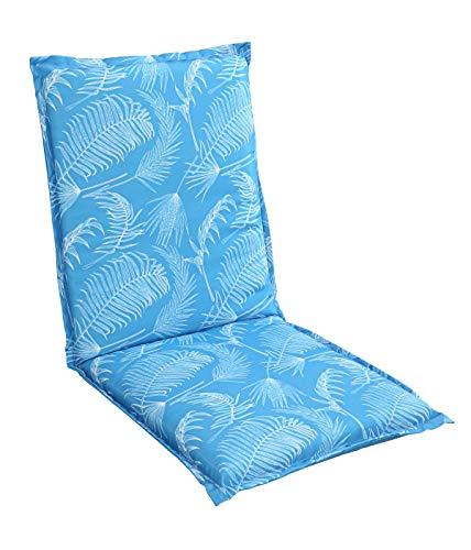 Dehner Niederlehner Wende-Auflage San Marino, ca. 105 x 50 x 6 cm, Polyester, blau/weiß
