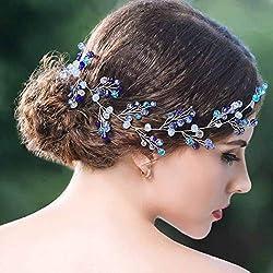 Diadema de plata y cristal grande, azul para bodas y damas de honor