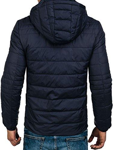 BOLF – Veste sans capuche – Faux cuir – Fermeture éclair – Homme [4D4] Bleu Fonce