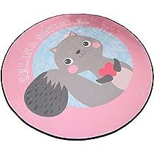 Alfombra redonda de dibujos animados rosa para sala de estar & Cuarto & Silla de computadora & Mesa de café & Silla giratoria Alfombrilla antideslizante Alfombra para baño infantil (Diámetro 60cm)
