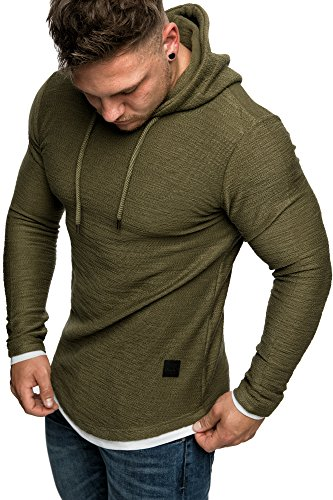 REPUBLIX Herren 2in1 Oversize Kapuzenpullover Hoodie Sweatjacke Pullover Sweater Sweatshirt R15 Khaki L
