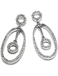 Gioie Women's Earrings in White 18k Gold with Diamond H/SI, 5.6 Grams