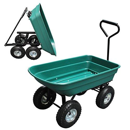 Helo Kippwagen grün mit 300 kg Tragkraft und Luftreifen (Kipplast 150 kg), Garten Transportkarre mit kippwanne - (L/B/H): 96 x 48 x 89 cm - Gestell: Schwarz/Wanne: Grün