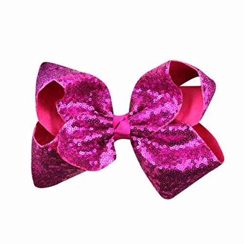 Hunpta Mädchen Haar Bogen Grosgrain Ribbon Boutique Knot Dance Glips Zubehör (Hot Pink)