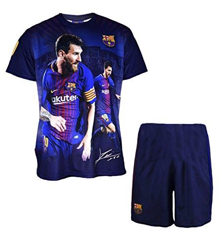 FC Barcelona Jungen-Trikot und kurze Hose, Lionel Messi, Nr. 10, offizielle Kollektion, Kindergröße - 10 Jahre