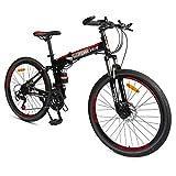 GPAN 26 Pouces Pliable Vélo VTT Mountain Bicycles Hommes et Femmes Hors Route vélo,24 Vitesses,avec Frein à Disque Avant et arrière Double Suspension,Black