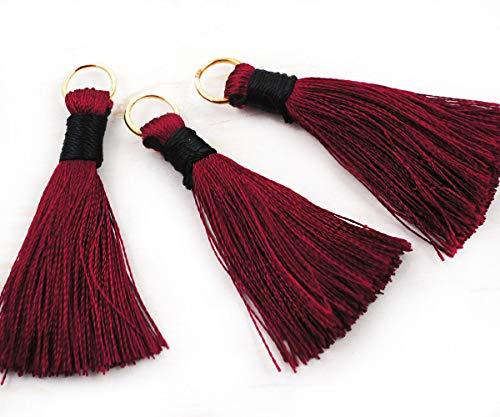 4 Stück Bordeaux-Rote Satin-Baumwoll-Mini-Quasten Mit Sprung-Ring Haken-Anweisung Quaste Ohrringe Für Schmuck Machen 44mm - Bordeaux-mini-anhänger