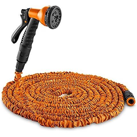 DURAMAXX Flex 30 Flexible manguera de jardín 8 funciones 30 m longitud (Ducha teléfono 8 modos riego, conector rápido, auto enrollable, ligera, nailon plástico, resistente intemperie, naranja)