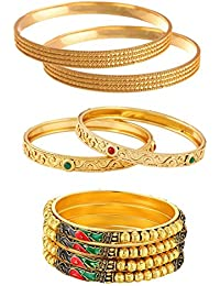 Jewels Galaxy Delicate Mayur Designer, Red-Green Ruby & Traditional Gold Plated Bangles Set For Women/Girls -...