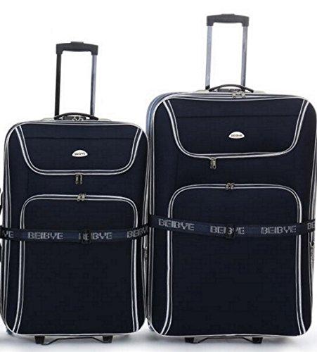 2 Trolleys - Koffer - 86cm + 76cm XXL-Volumen, Dehnfalte, Koffergurt, ... - Schwarz
