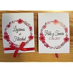 Lagrimas de felicidad con pañuelo en tonos rojos. Personalizable. 100 unidades.