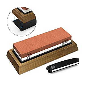 SHAN ZU Schleifstein Abziehstein Wetzstein für Professionell 2-in-1 Doppelseitiger Messerschärfer, Körnung 1000/6000 mit rutschfestem Silikonhalte für Küche Messer