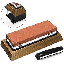 SHAN ZU Piedra de Afilar Cuchillo de Piedra Afiladores Manuales 1000/6000 Grano con Base