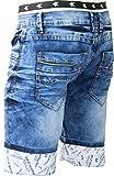 Jaylvis Bermuda jeans homme à ceinture boxer Stars PZ1829__W32 FR42