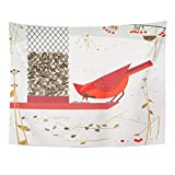 Tapisserie Art Decor Wall, Tapestry Wall Hanging, Cute Red Northern Cardinal Bird Comic Flat Cartoon Minimalism Simplicity Winter 60'x 80' Home Decor Art Tapestries for Living Room Dorm Apartment