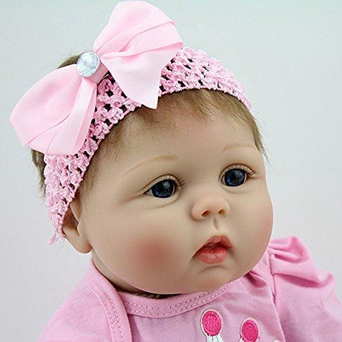 ZIYIUI 22 Pulgadas 55cm Reborn Baby Doll Vinilo de Silicona Suave Presente para niñas con Falda Rosa Muy Bonita