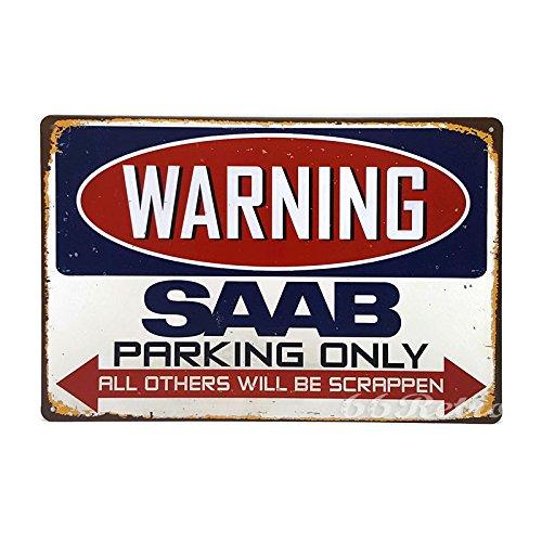 66retro Saab Parking Only, Vintage Retro Metall blechschild, Wand Deko Schild, 20cm x (Halloween Up Girl Pin)