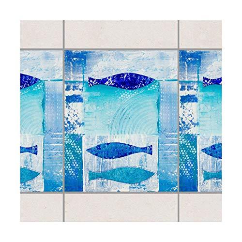 Fliesen Bordüre - Fish in the Blue 25cm x 20cm, Setgröße:10teilig