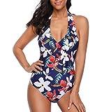 NPRADLA 2018 Bikini Damen Set Druck Einteiliger Overall Beachwear Bade Push Up(Blau,L)