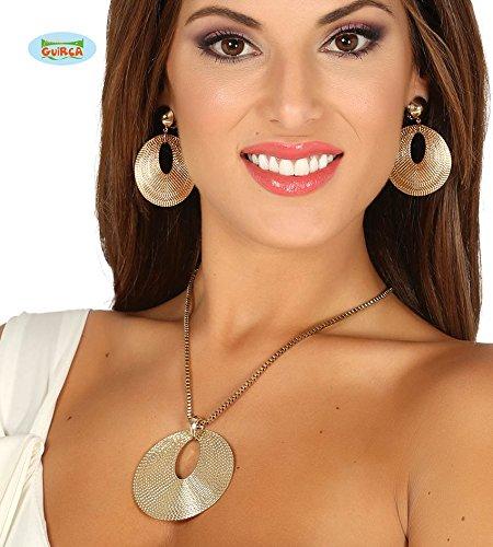 Guirca Schmuck Set Goldene Kette Anhänger Ring Gold Collier Edel Prinzessin Halloween Karneval