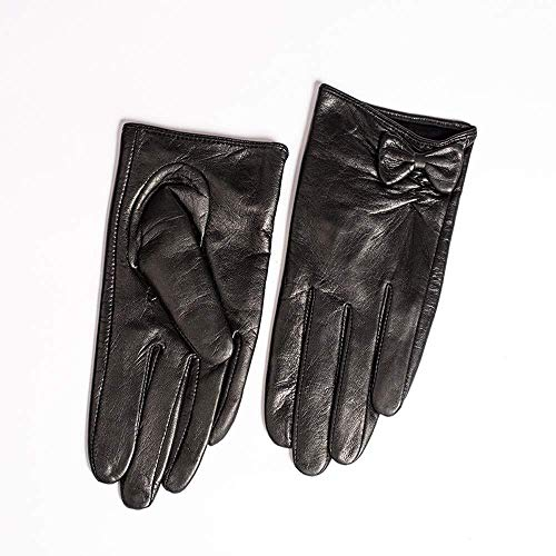 HJBH Lederhandschuhe Damen-Dünnschliff-Wildlederhandschuhe sowie samtwarme Winter-Motorrad-Lederhandschuhe (Color : Warm Lining, Size : S)