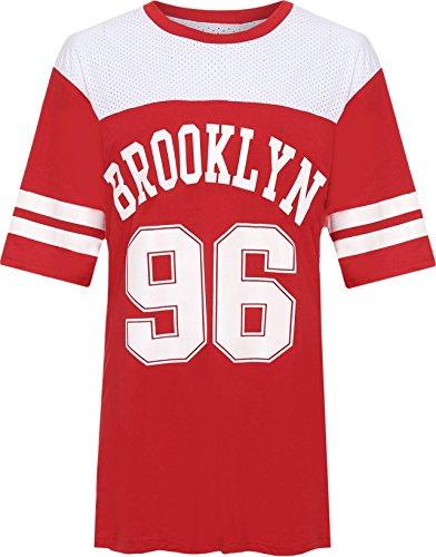 WEARALL Damen Plus Brooklyn 96 Baseball Top Damen Druck Airtech Gestreift Ausgebeult T-Shirt - 40-58 Rot