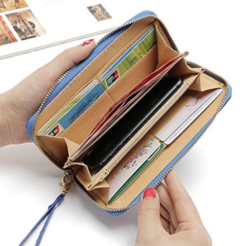 Lalang Langer Abschnitt Handy-Beutel Paket PU Leder Handtaschen Wallet mit Reißverschluss Blau