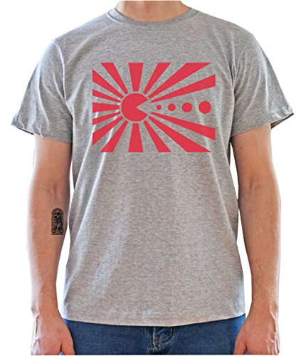 JAPAN FLAG as PACMAN Funny Graphic Mens T-Shirt Gris