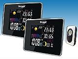 Funk Farb Wetterstation Froggit WS50 TWIN (2 Displays) inkl. 1 Funk Thermo-Hygrometer Außensensor, Wettervorhersage, Funkuhr, Temperatur, Luftfeuchte
