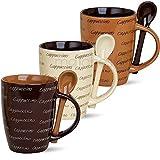 matches21 Cappuccino 3 Stück Original Cappucchino Tassen Becher Kaffeetassen Kaffeebecher 10 cm hoch/250 ml Keramik mit Löffel