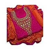 creativeswilla Women's Cotton Silk Dress Material (Pink_Free Size)