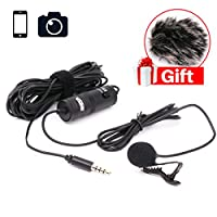 BOYA BY-M1 Lavalier Microphone for iPhone with 3.5mm Adapter Cable for Headphone Monitor and Microphone for Smartphones iPhone DSLR Cameras PC Interviewing Vlogging Livestreaming