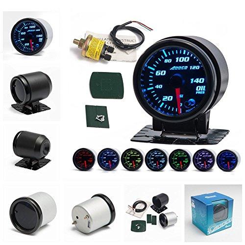 epman ad-ga52oilp 5,1cm/52mm 7Farbe LED Auto Oil Press Gauge Auto Öl Druck Messgerät mit Sensor und holderns Pointer Universal Auto Meter