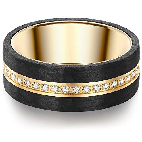 Tresor 1934 Damen-Ring Edelstahl gelbvergoldet Zirkonia weiß Brillantschliff - Edelstahlring vergoldet Carbon Verlobunsgring mit Carbon Ring mit Brillantschliff