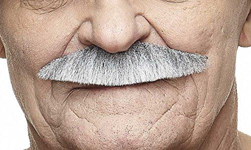 Mustaches Grauer Polizistenr fälschen, selbstklebend Schnurrbart mit weiß (Grau Haarspray Halloween)
