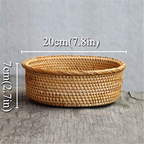 LY/WEY Rattan Baskets Round Fruit Dish for Kitchen Wicker Weaving Handmade Picnic Storage Basket for Bread Flower Drain Case,L (Bambus Wicker Regale)
