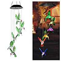 ‏‪HIOTECH Solar Wind Chimes Changing Colors, Wind Chimes Dragonfly Wind Chimes Hummingbird Outdoor Solar Lights Hanging Decorative Garden Lights Xmas Gifts for Decor Home Garden Patio Yard‬‏