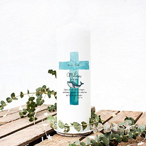 Taufkerze Kerze zur Taufe oder Geburt Kommunionkerze Kreuz blau mit Wal Spruch Wunschname & Datum wk42 ilka parey wandtattoo-welt®