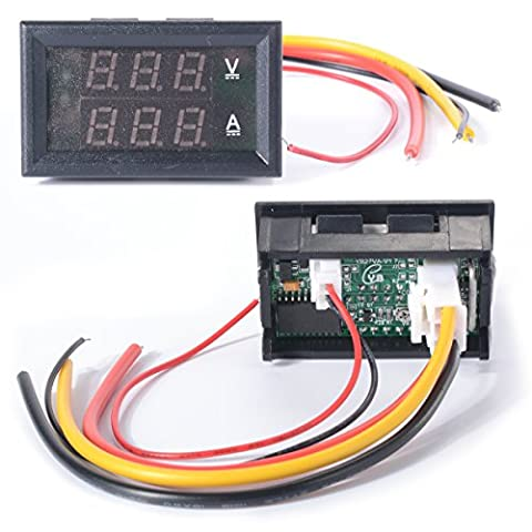 XCSOURCE DC 0-100V Voltmeter Ammeter 10A Red Blue LED Panel