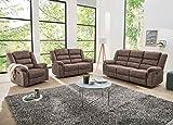 lifestyle4living Couchtgarnitur in braunem Stoff bezogen mit praktischer Relaxfunktion, Garnitur bestehend aus Sessel, 2-Sitzer und 3-Sitzer Sofa