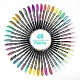 Ciaoed 48 Stück Glitzer Gelschreiber Gelstifte Multicolor Gel Stift Set für Erwachsene Färbungsbücher Zeichnung Malbücher
