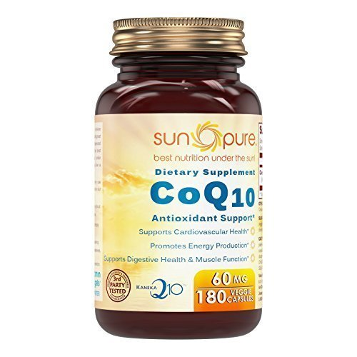 Sun Pure Premium Quality Co-enzyme Q10 60 Mg 180 Veggie Capsules Glass Bottle -*Promotes Energy Production -*Supports Cardiovascular health -*Supports Digestive health & muscle function