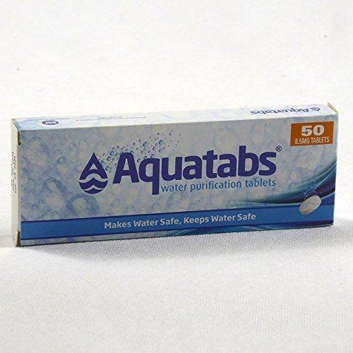 Aquatabs®–Wasser-Reinigungstabletten. 1Tablette pro Liter Wasser–Schachtel mit 50 Stück.